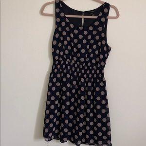 Navy blue and tan polka dot dress